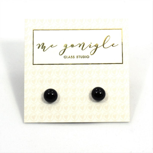Fused Glass Stud Earrings - Black - McGonigle Glass Studio