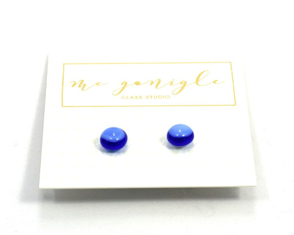 Fused Glass Stud Earrings - Blue - McGonigle Glass Studio