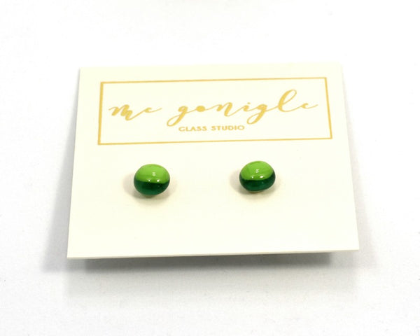 Fused Glass Stud Earrings - Green - McGonigle Glass Studio
