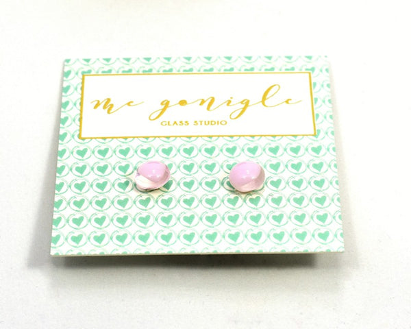 Fused Glass Stud Earrings - Light Pink - McGonigle Glass Studio