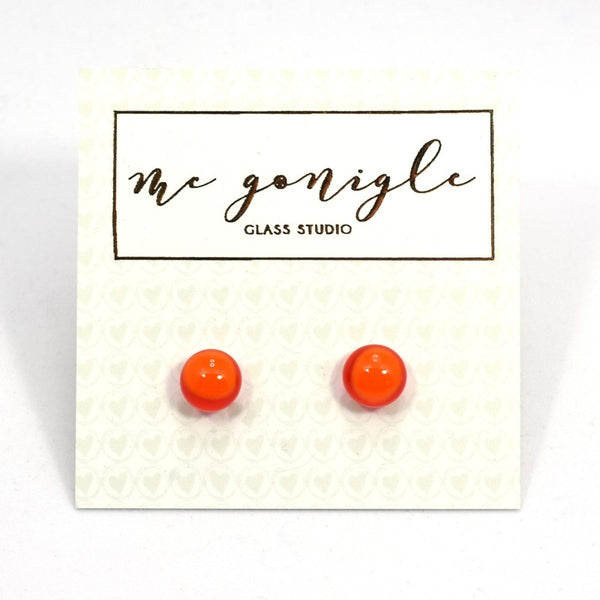 Fused Glass Stud Earrings - Orange - McGonigle Glass Studio