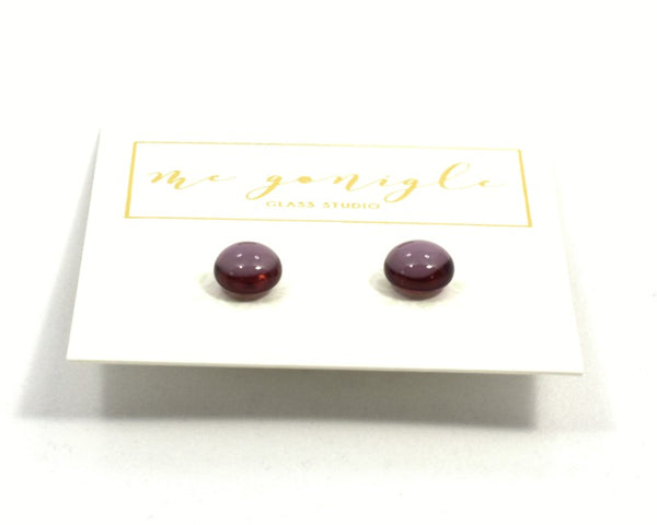 Fused Glass Stud Earrings - Purple - McGonigle Glass Studio