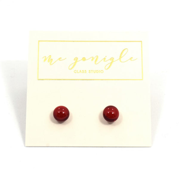 Fused Glass Stud Earrings - Red - McGonigle Glass Studio