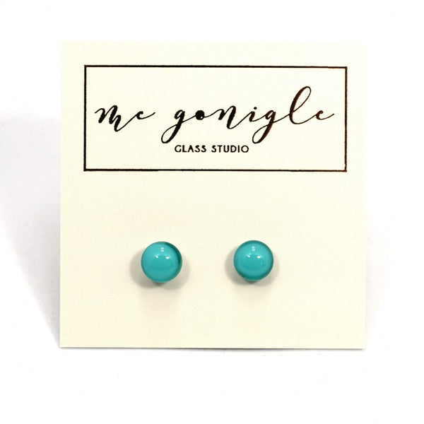 Fused Glass Stud Earrings - Turquoise - McGonigle Glass Studio