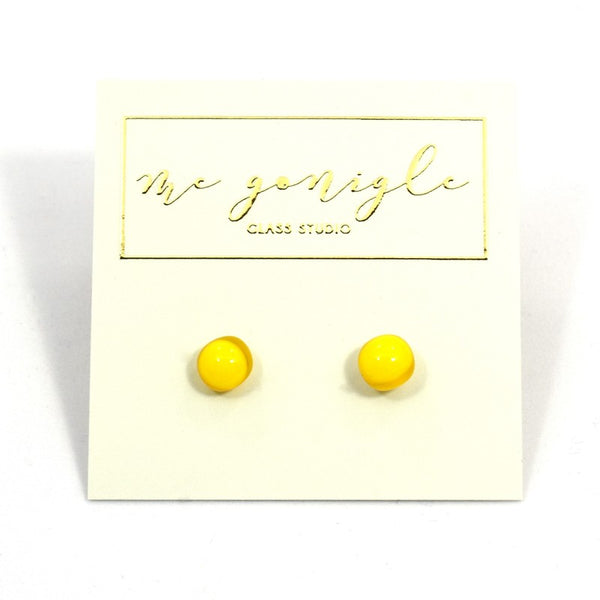 Fused Glass Stud Earrings - Yellow - McGonigle Glass Studio