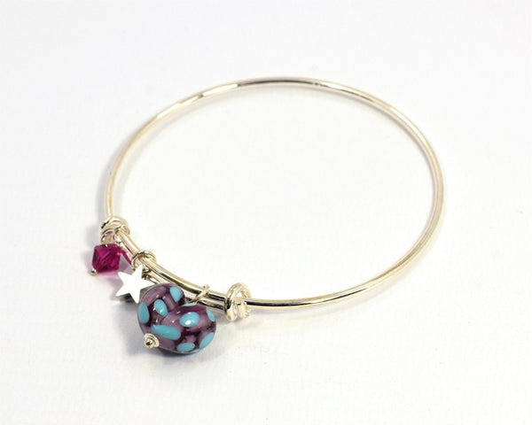 Glass Heart on Silver Plated Bangle - Purple and Turquoise - McGonigle Glass Studio