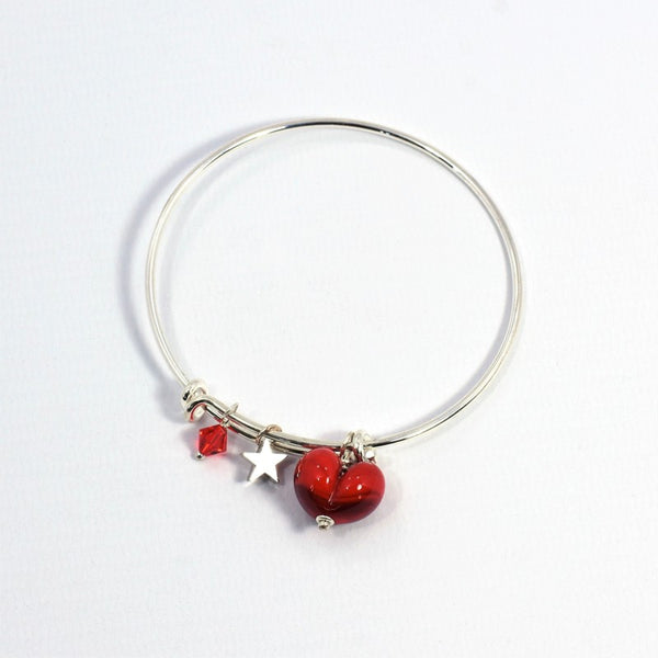 Glass Heart on Silver Plated Bangle - Red - McGonigle Glass Studio