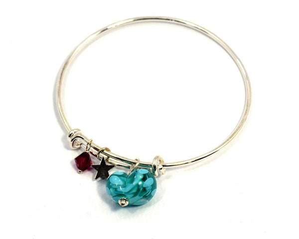 Glass Heart on Silver Plated Bangle - Turquoise - McGonigle Glass Studio