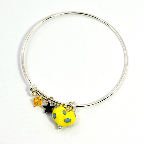 Glass Heart on Silver Plated Bangle - Yellow and Turquoise - McGonigle Glass Studio