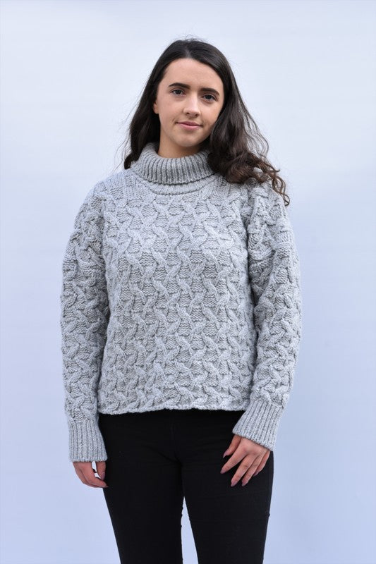 Turtleneck Cropped Aran Sweater – Dove – McConnell