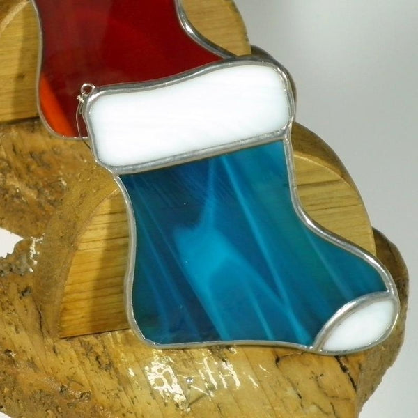 Aqua Santa Stocking - Stained Glass Suncatcher – Ard aLume