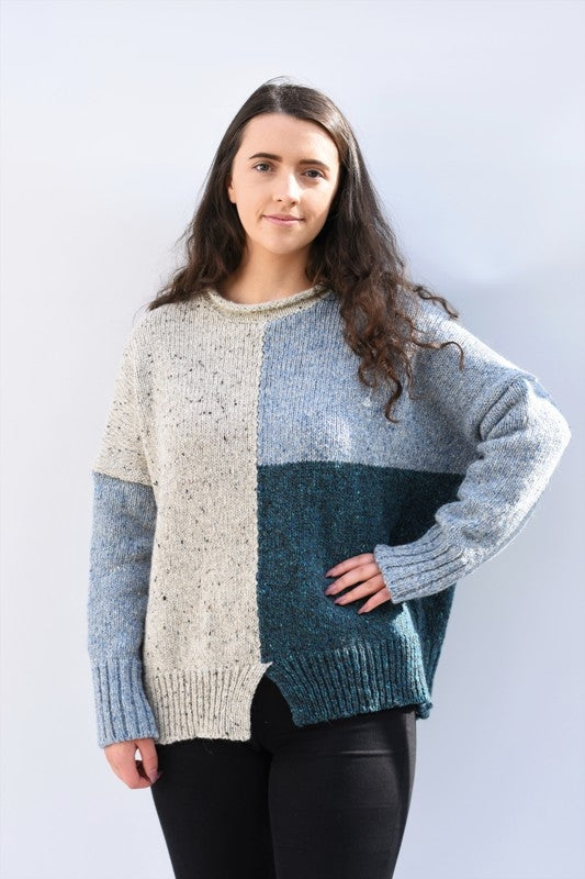 Block Coloured Sweater - Teal - McConnell