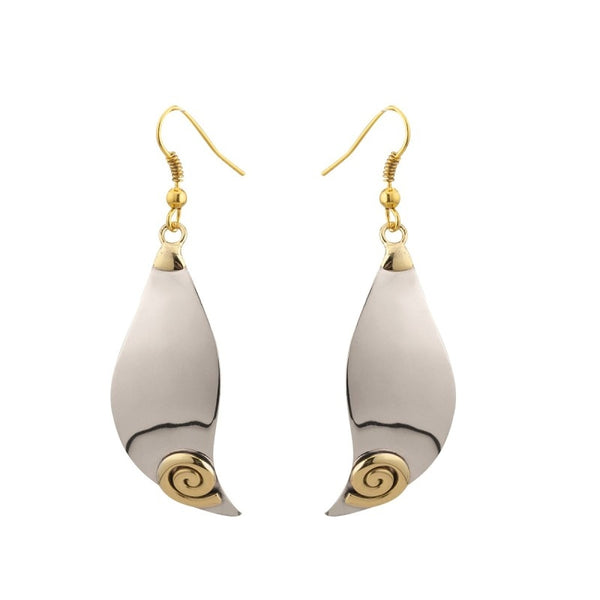 Celtic Spiral Wave Tear Drop Earrings – Silver and Brass - NJO Designs