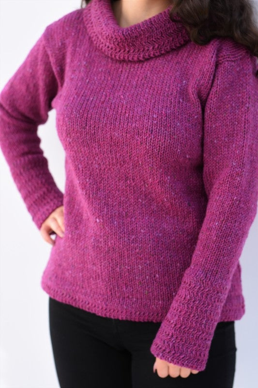 Cowl polo neck sweater with herringbone stitch edges – Pink – Rossan Knitwear