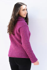 Cowl polo neck sweater with herringbone stitch edges – Pink – Rossan Knitwear - back
