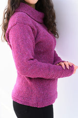 Cowl polo neck sweater with herringbone stitch edges – Pink – Rossan Knitwear - side