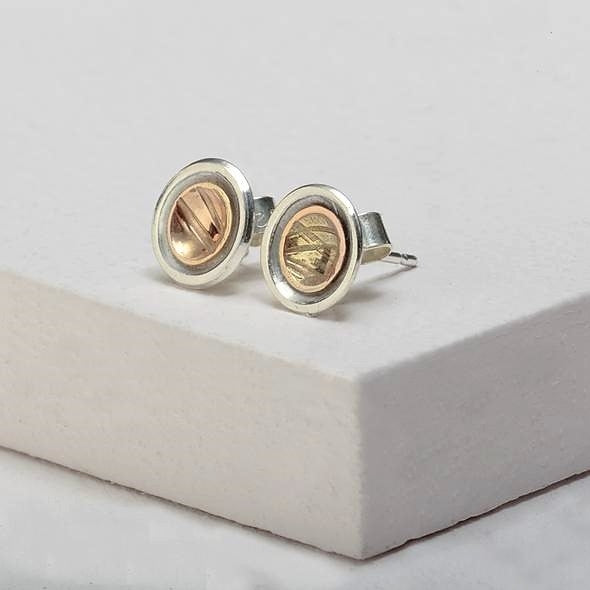Find Your Way Small Stud Earrings - Sterling Silver and 9ct Gold – Simon Barber
