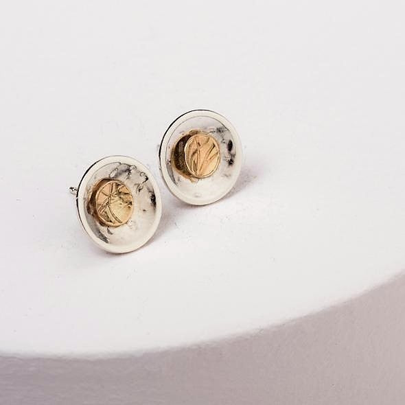 Find Your Way Stud Earrings - Sterling Silver and 9ct Gold – Simon Barber
