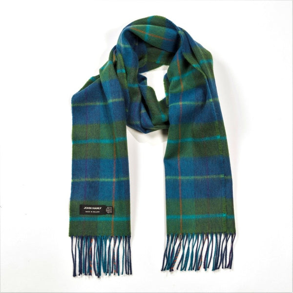Fine Merino Scarf - Blue and Green Check - John Hanly
