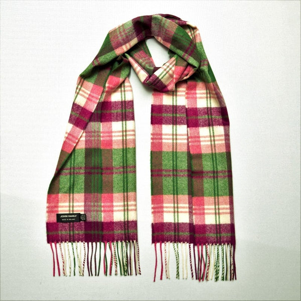 Fine Merino Scarf - Green, Pink and Maroon Plaid - John Hanly