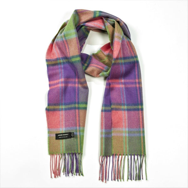 Fine Merino Scarf - Pink, Lime Green and Purple Check - John Hanly