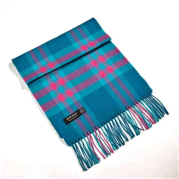 Fine Merino Scarf - Teal, Pink and Turquoise Check - John Hanly