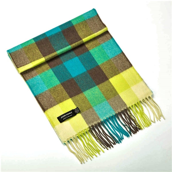 Fine Merino Scarf - Turquoise, Yellow and Brown Block Check - John Hanly