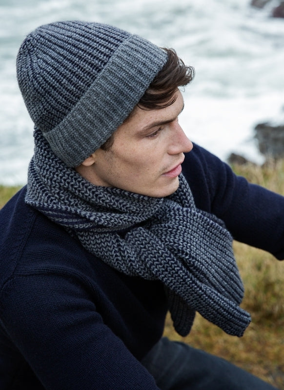 Fisherman's Rib Hat - Grey and Navy - Fisherman Out of Ireland