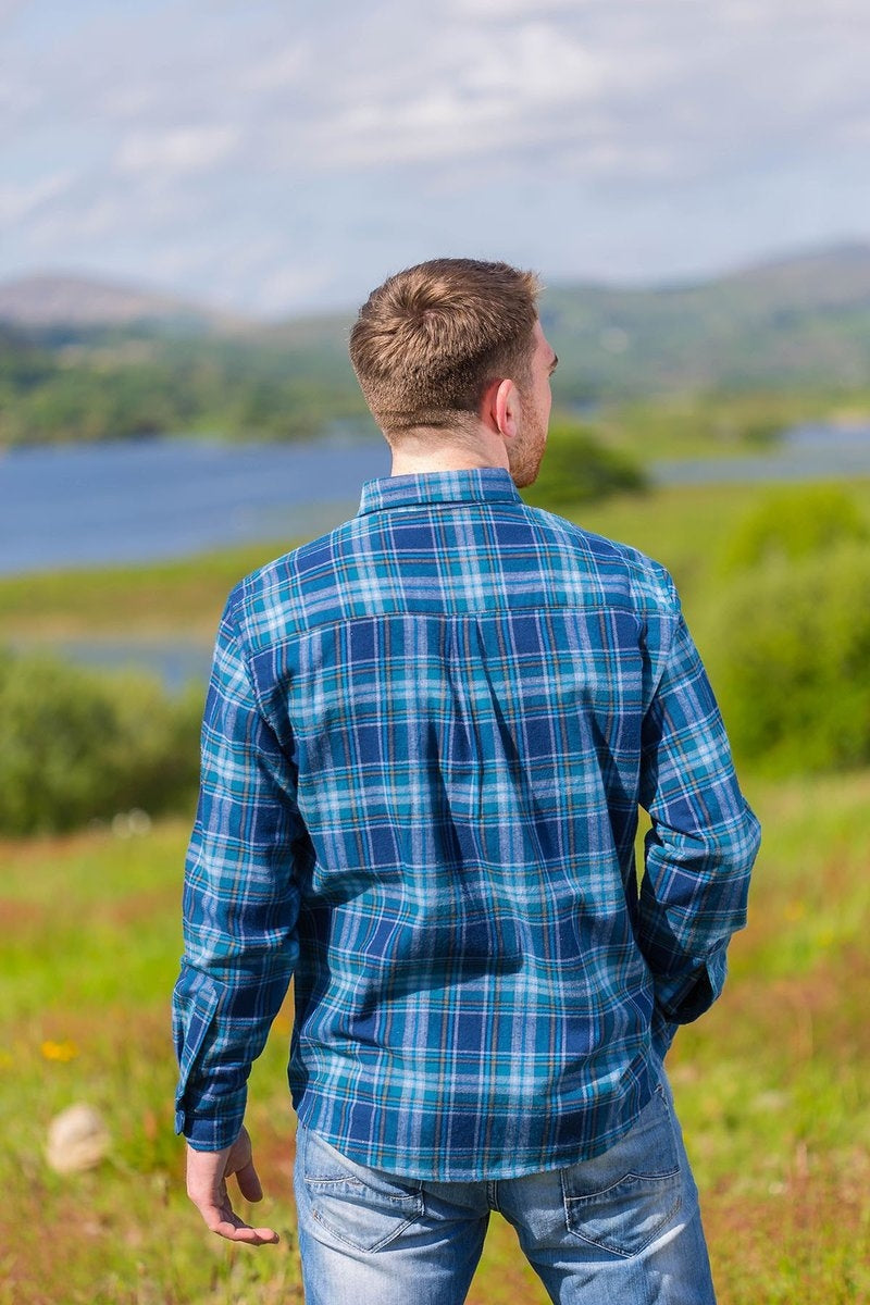 Flannel Collar Shirt - blue & navy tartan with white & mustard - Lee Valley