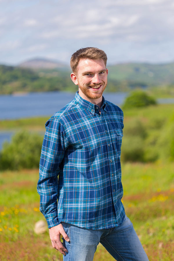 Flannel Collar Shirt - Lee Valley - blue & navy tartan with white and mustard - Front