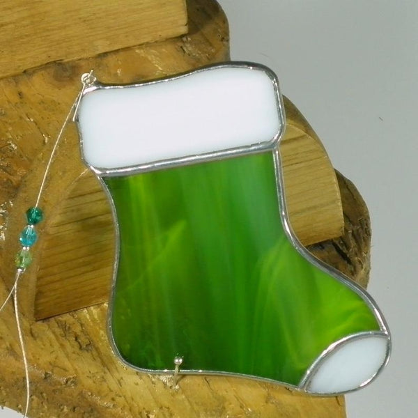 Moss Santa Stocking - Stained Glass Suncatcher – Ard aLume