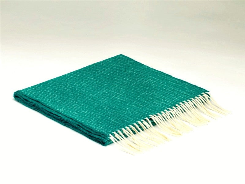 Herringbone Lambswool Scarf - Tropical Green - McNutt of Donegal