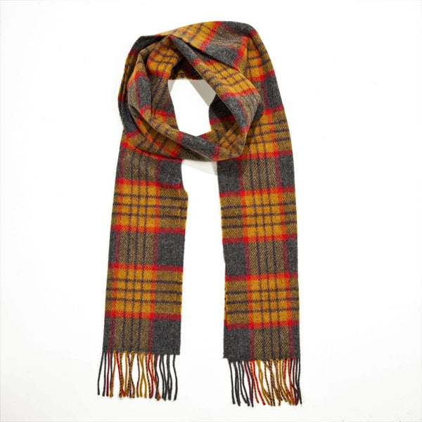 Lambswool Scarf - Mustard, Red and Grey Check - John Hanly