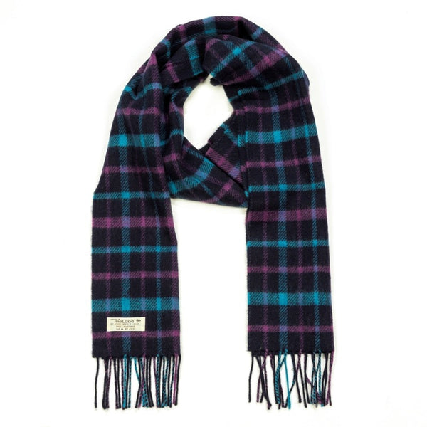 Lambswool Scarf - Navy, Turquoise and Purple Check - John Hanly
