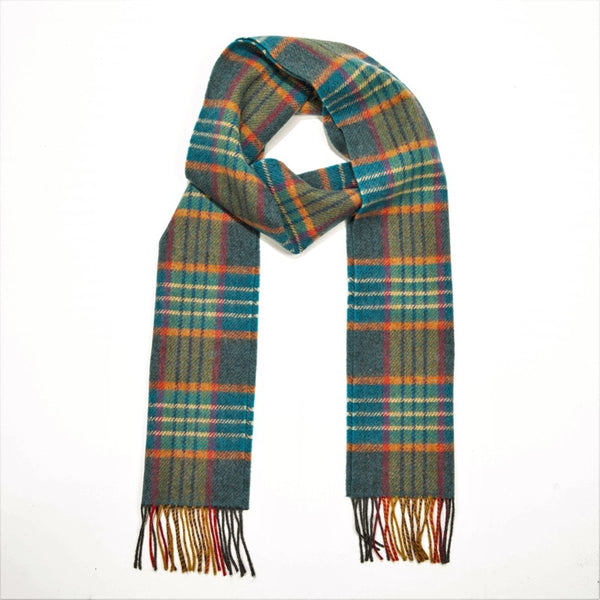 Lambswool Scarf - Teal, Orange and Navy Check - John Hanly