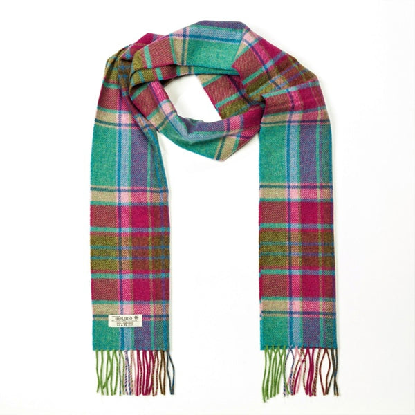 Lambswool Scarf - Teal, Pink and Lime Green Check - John Hanly
