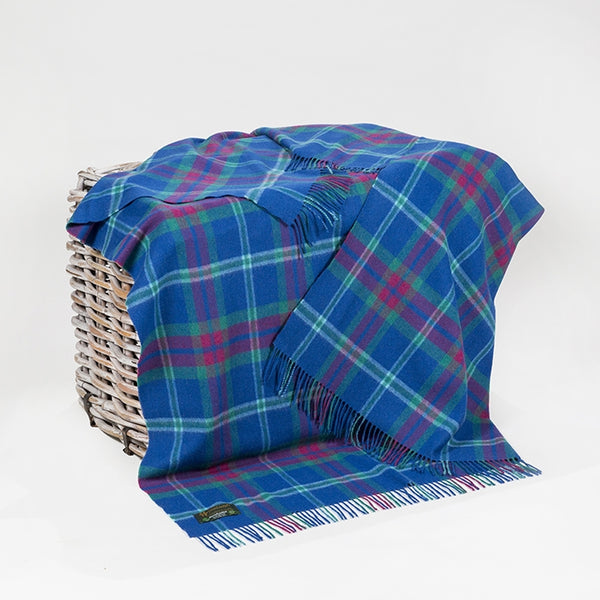 Lambswool Throw - Blue, Pink and Green Check - John Hanly