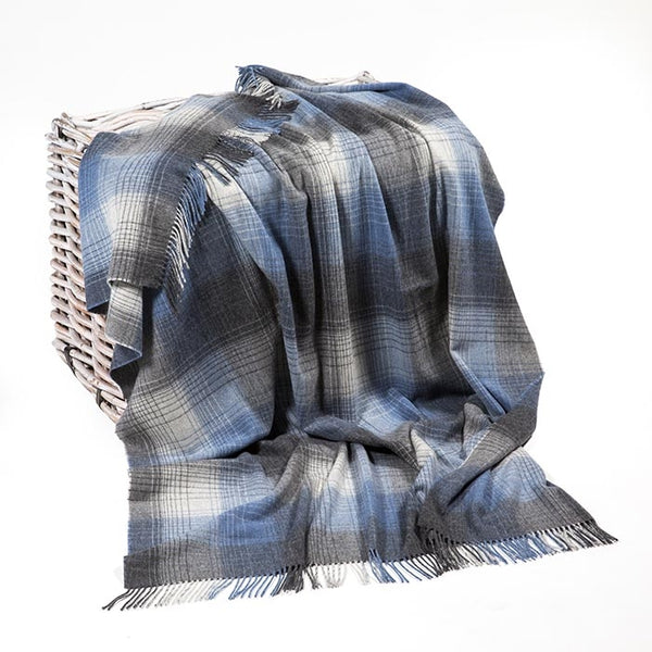 Lambswool Throw - Grey and Denim Check - John Hanly