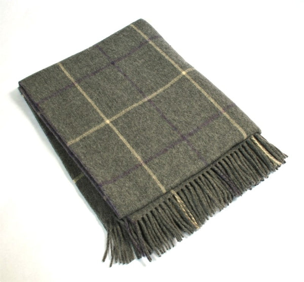 Lambswool Throw - John Hanly - grey, cream and purple check