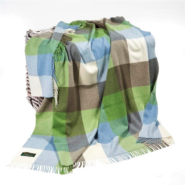 Lambswool Throw -  sky blue, green, cream & beige block check - John Hanly