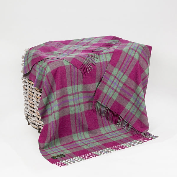 Lambswool Throw - Pink and Green Check - John Hanly