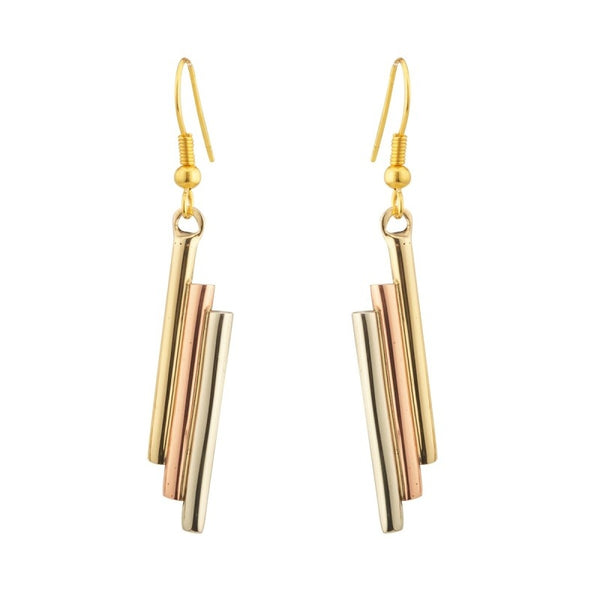 Layered Bar Drop Earrings – Copper, Brass and Silver - NJO Designs