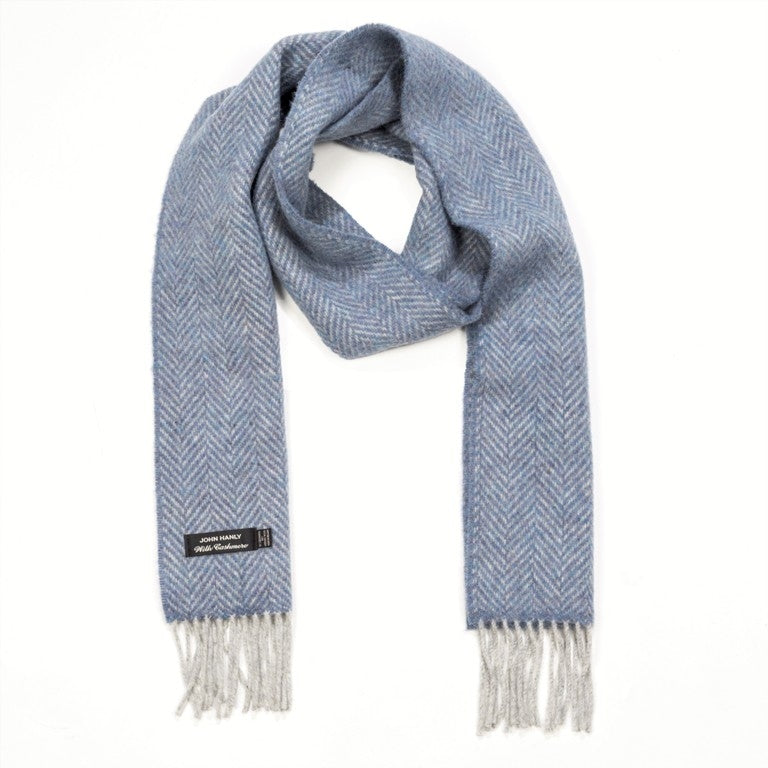 Merino and Cashmere Scarf - Blue and Light Grey Herringbone - John Hanly