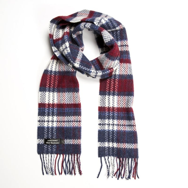 Merino and Cashmere Scarf - Denim, White and Maroon Check - John Hanly