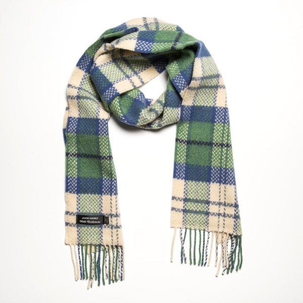 Merino and Cashmere Scarf - Emerald, White and Blue Check- John Hanly