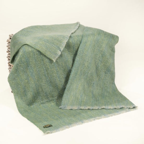 Mohair Throw - Light Green and Blue - John Hanly