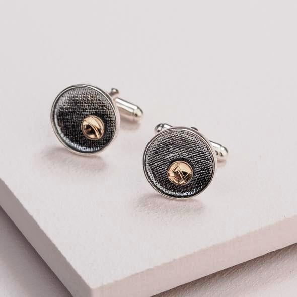 Moonlight Cufflinks - Sterling Silver and 9ct Gold – Simon Barber