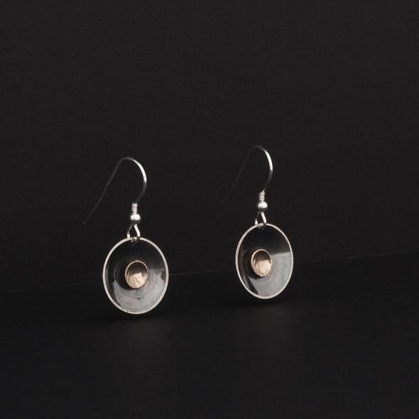 Moonlight Drop Earrings - Sterling Silver and 9ct Gold – Simon Barber