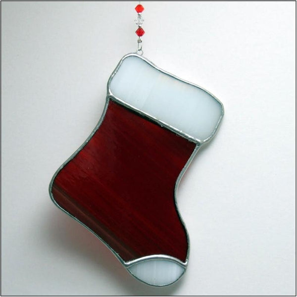 Red Santa Stocking - Stained Glass Suncatcher – Ard aLume