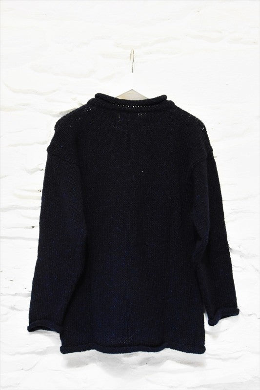 Roll neck jumper – Speckled navy – Rossan Knitwear - back